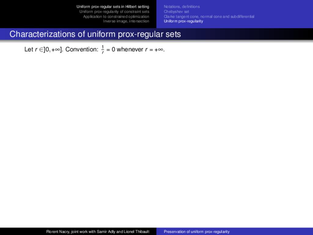Uniform prox-regular sets in Hilbert setting Un...