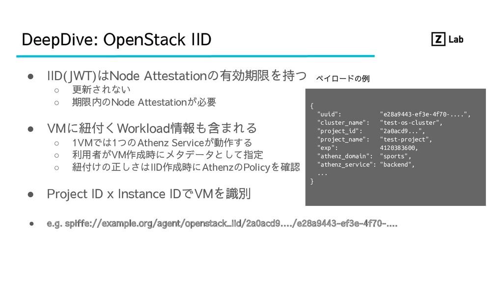 DeepDive: OpenStack IID ● IID(JWT)はNode Attesta...