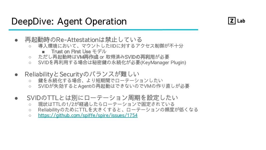 DeepDive: Agent Operation ● 再起動時のRe-Attestation...