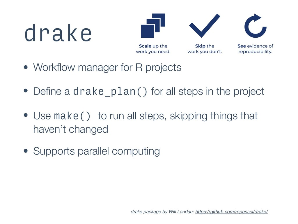 drake • Workflow manager for R projects • Define ...
