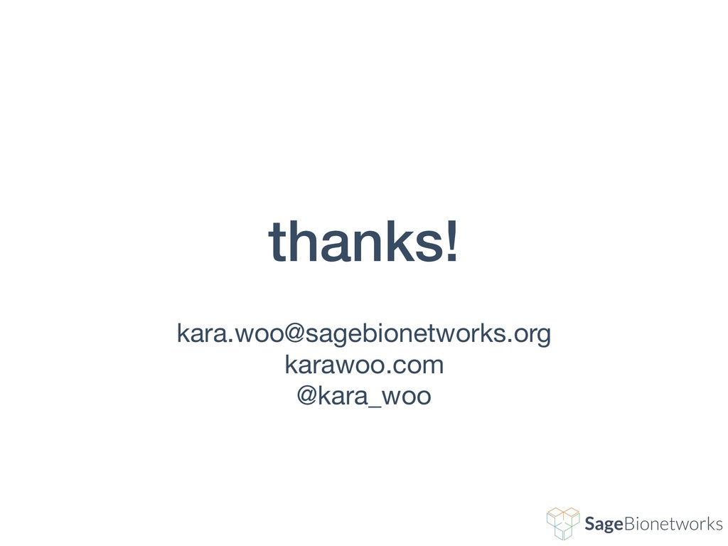thanks! kara.woo@sagebionetworks.org  karawoo.c...