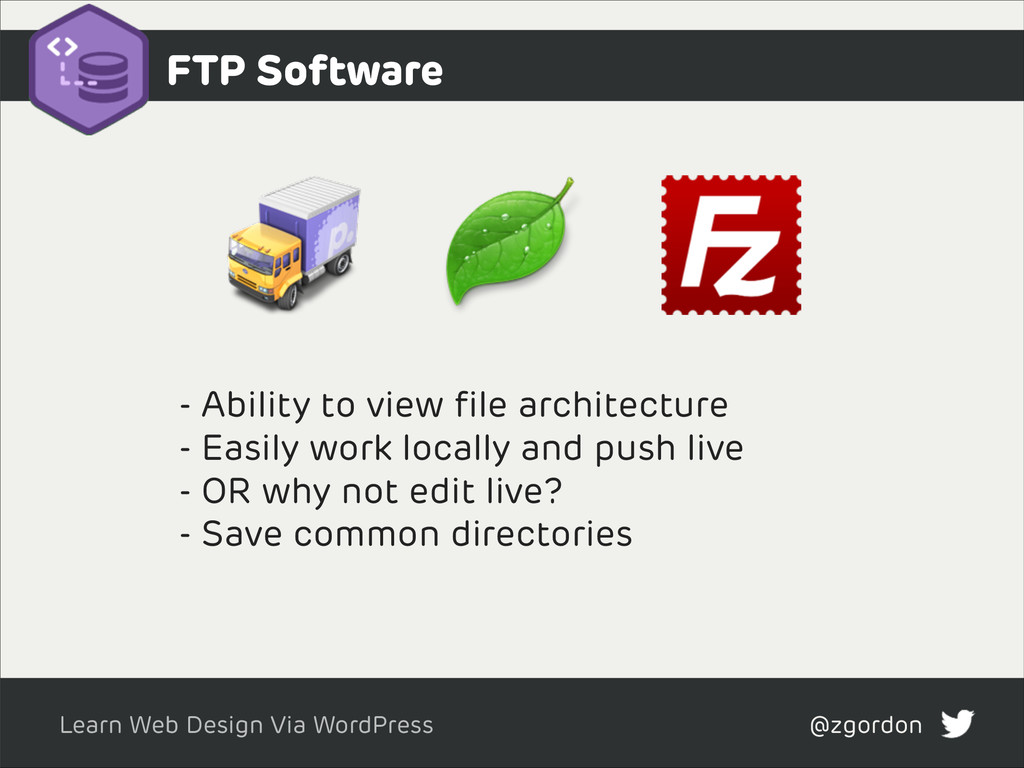 Learn Web Design Via WordPress @zgordon FTP Sof...
