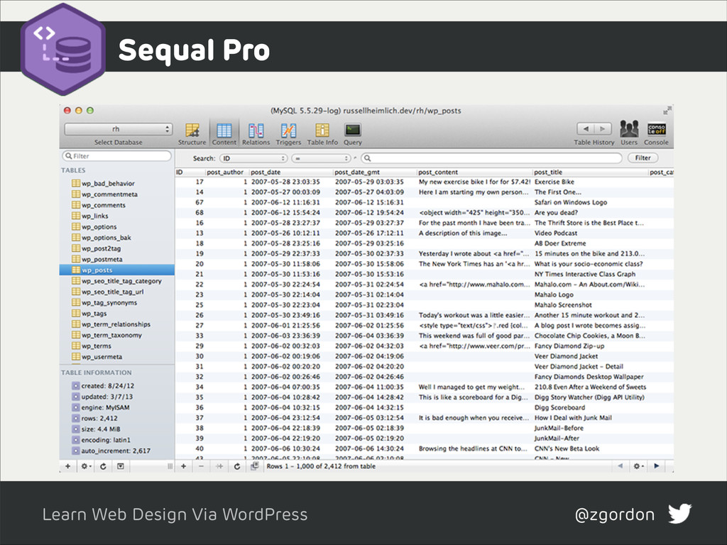 Learn Web Design Via WordPress @zgordon Sequal ...