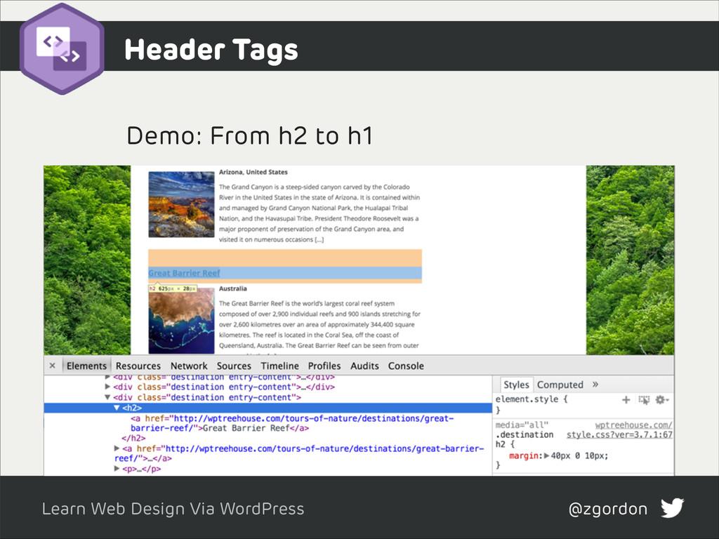 Learn Web Design Via WordPress @zgordon Header ...