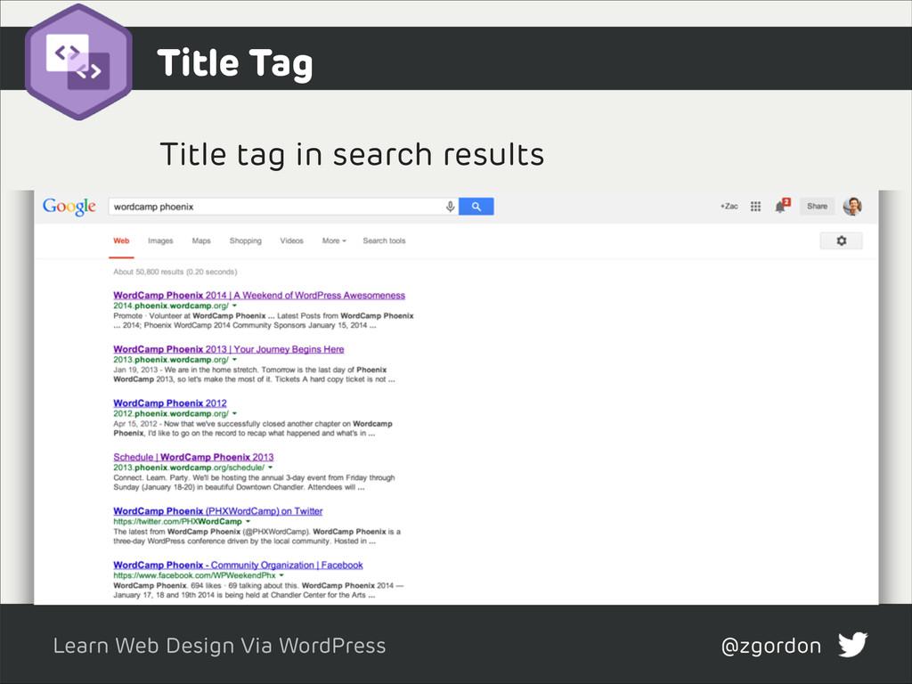 Learn Web Design Via WordPress @zgordon Title T...