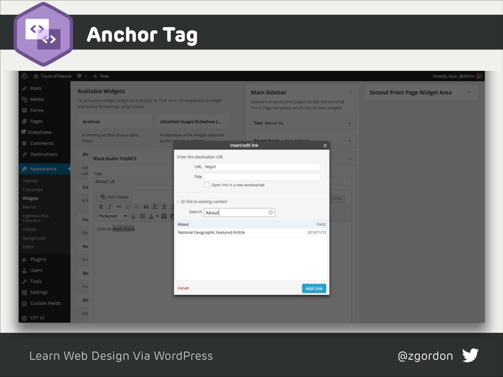 Learn Web Design Via WordPress @zgordon Anchor ...
