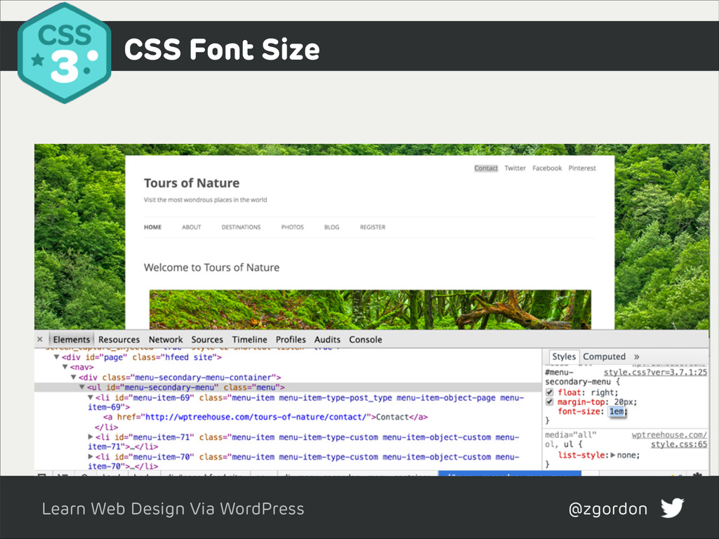 Learn Web Design Via WordPress @zgordon CSS Fon...