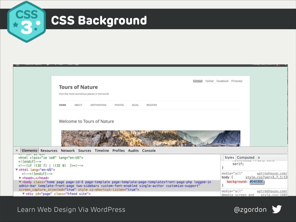 Learn Web Design Via WordPress @zgordon CSS Bac...