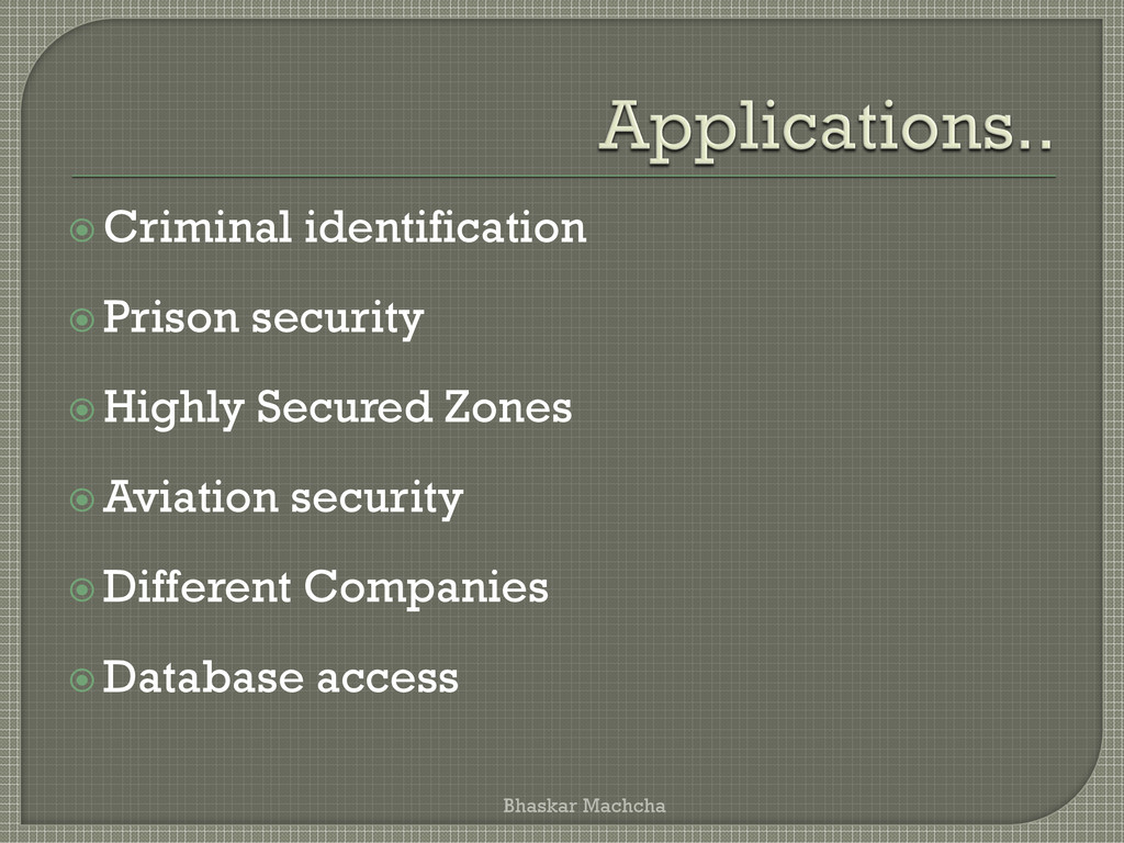  Criminal identification  Prison security  H...