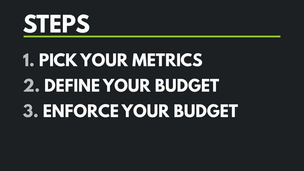 STEPS 1. PICK YOUR METRICS 2. DEFINE YOUR BUDGE...