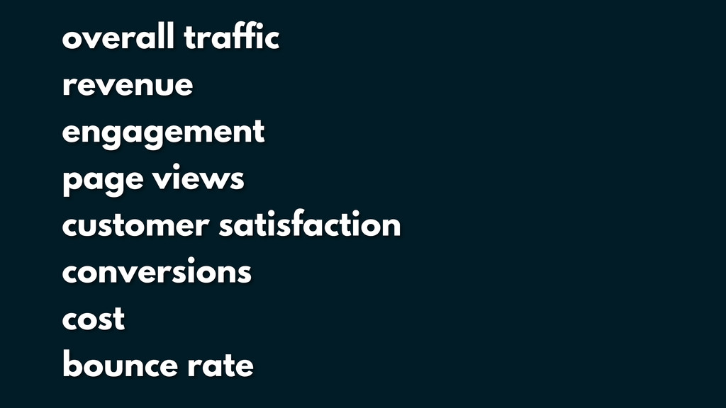 overall traffic revenue engagement page views c...