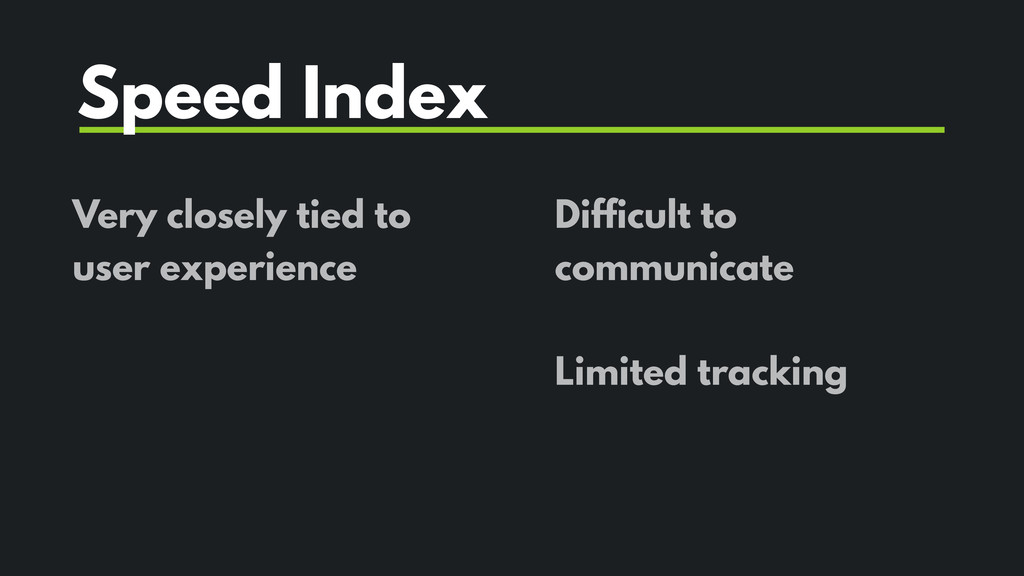 Very closely tied to user experience Speed Inde...