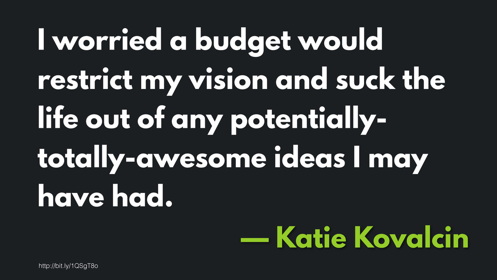 I worried a budget would restrict my vision and...