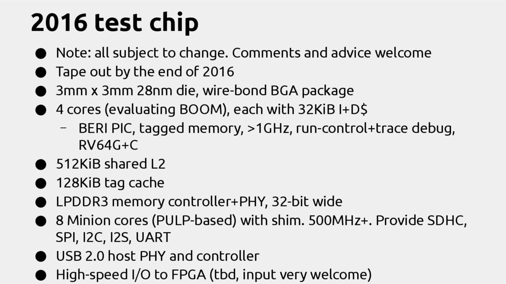 2016 test chip ● Note: all subject to change. C...