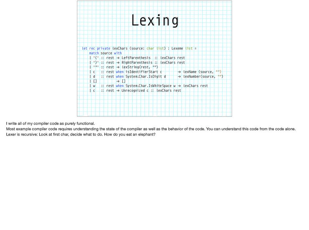Lexing let rec private lexChars (source: char l...