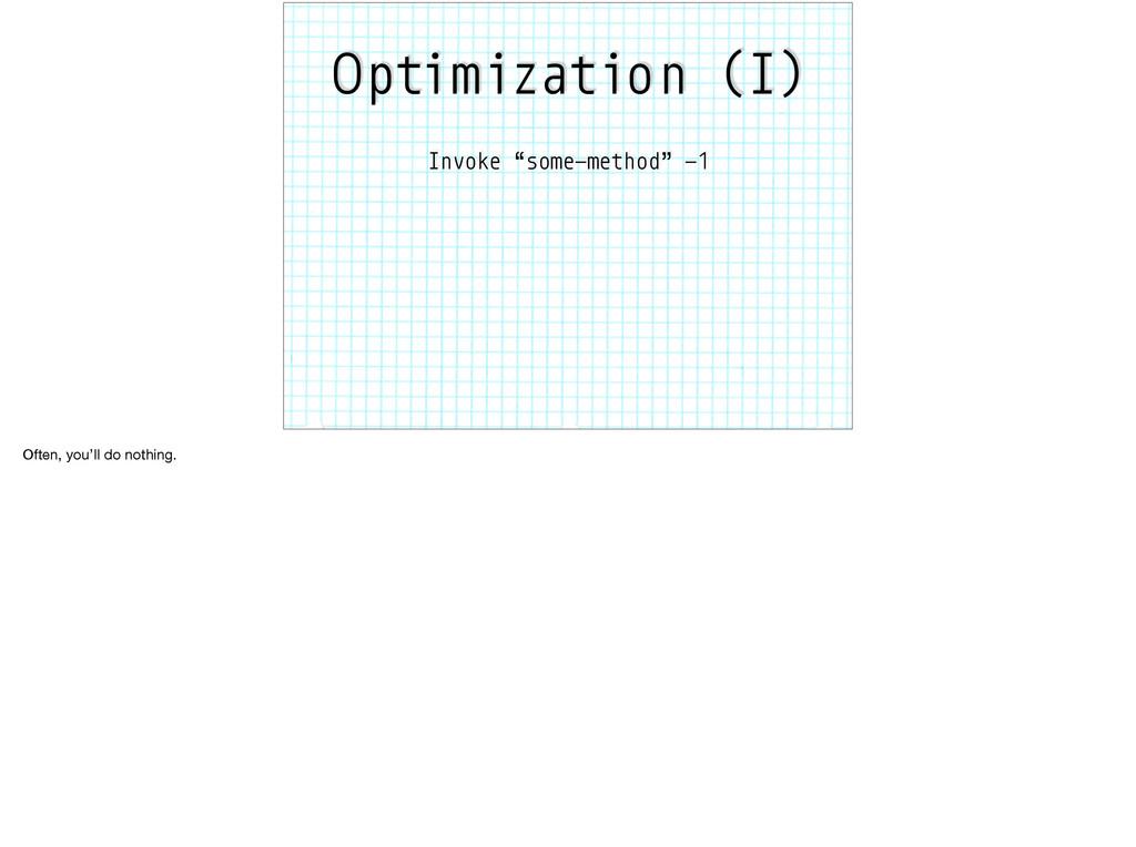 "Optimization (I) Invoke ""some-method"" -1 Often,..."