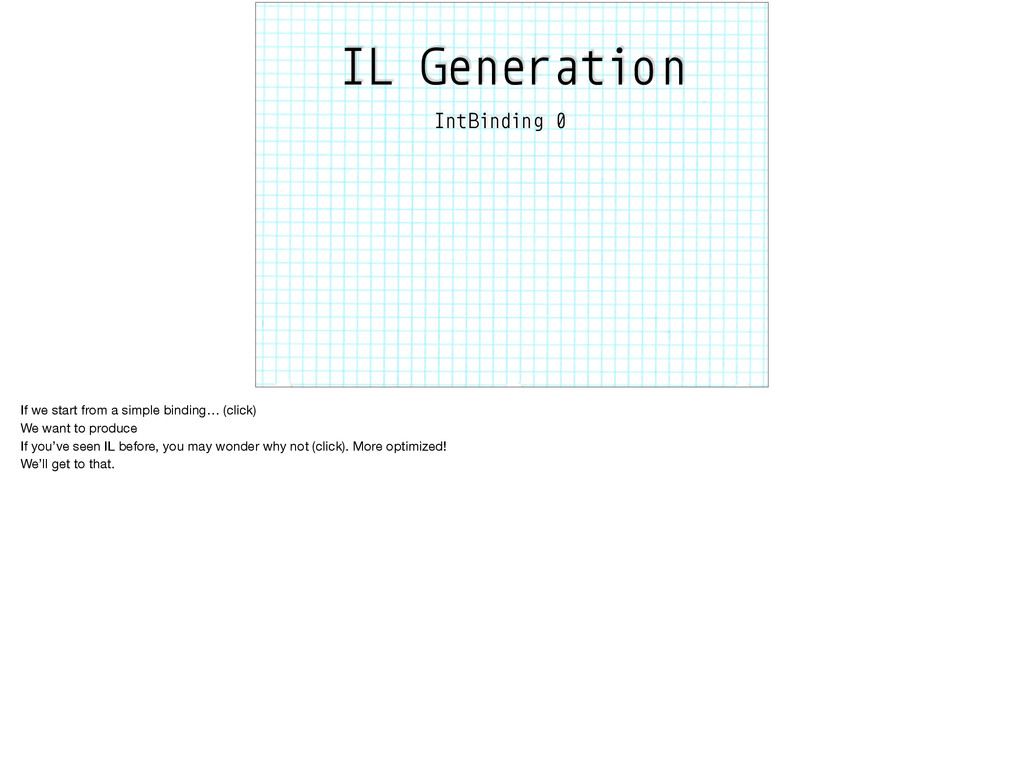 IL Generation IntBinding 0 If we start from a s...