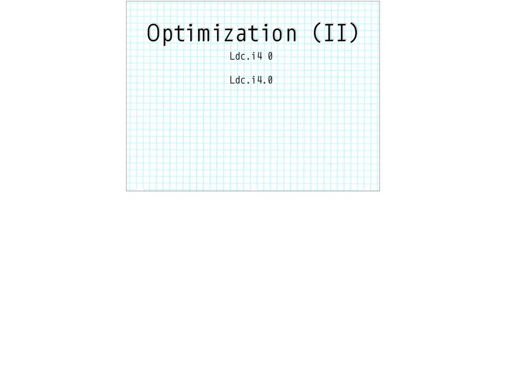 Optimization (II) Ldc.i4 0 Ldc.i4.0