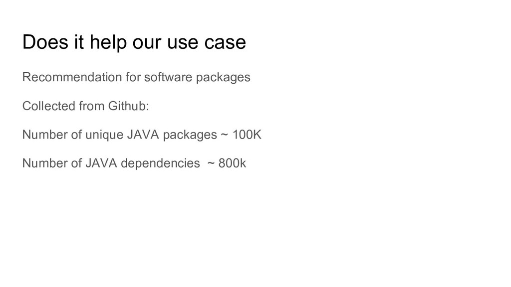 Does it help our use case Recommendation for so...