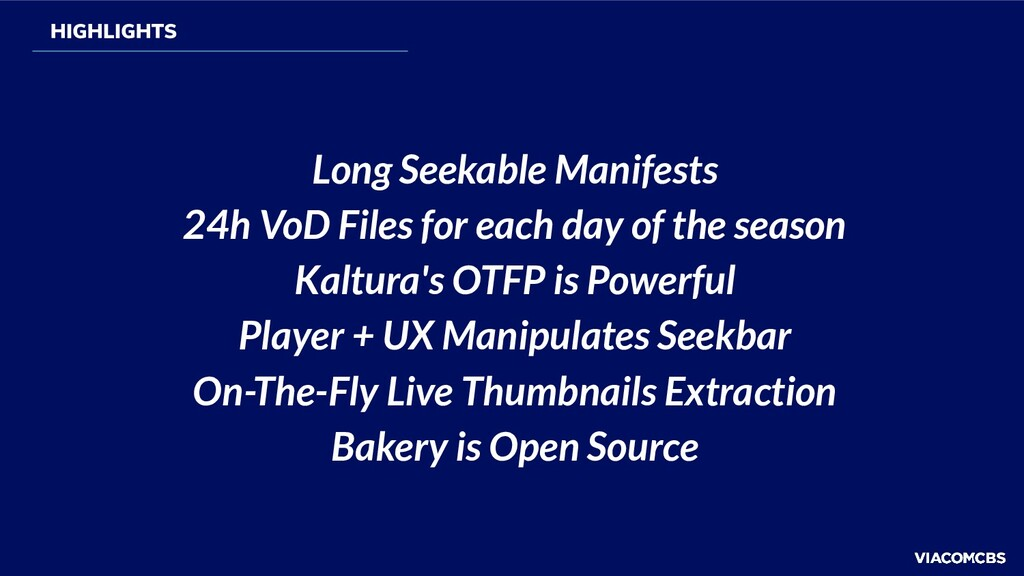 Long Seekable Manifests 24h VoD Files for each ...