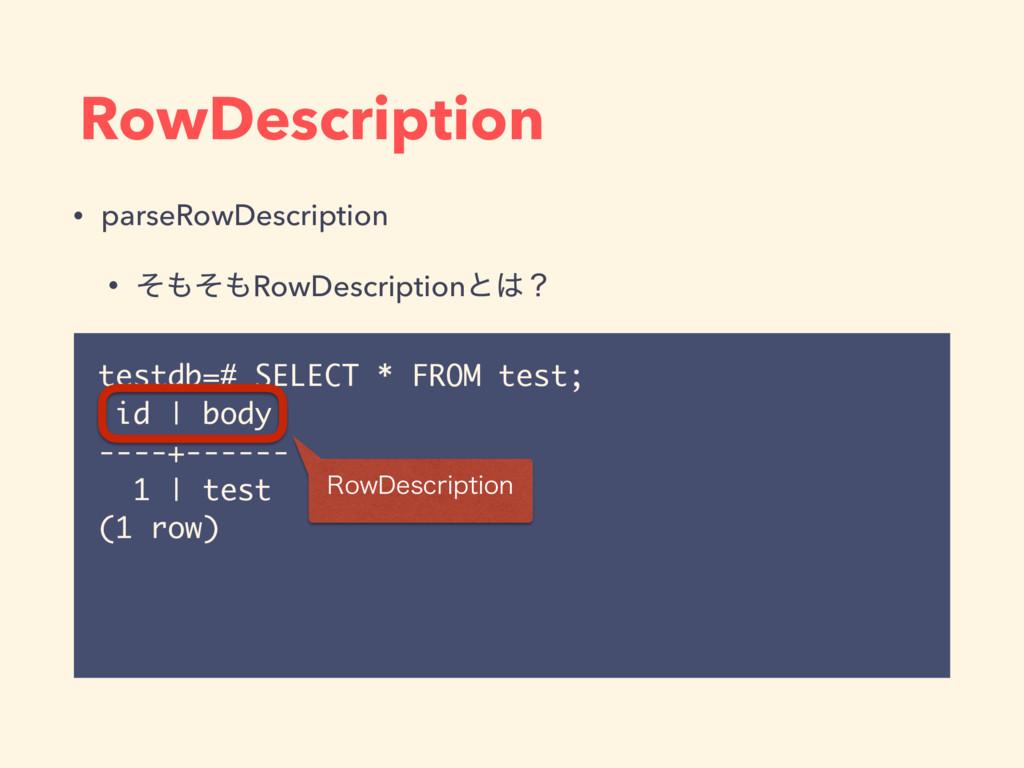 testdb=# SELECT * FROM test; id   body ----+---...
