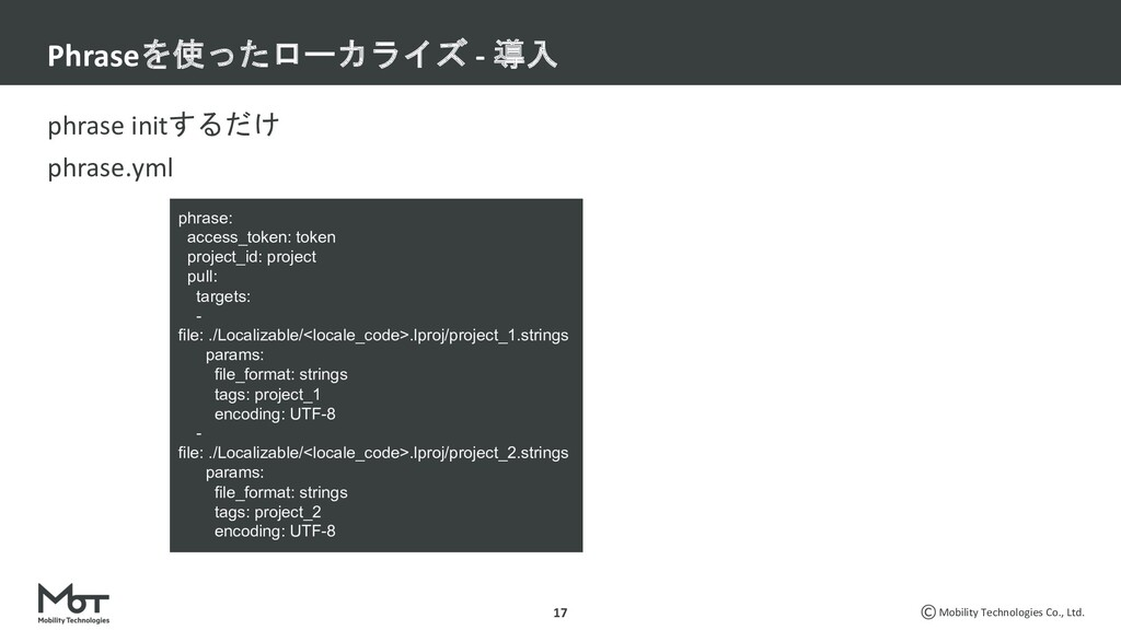 Mobility Technologies Co., Ltd. phrase initするだけ...