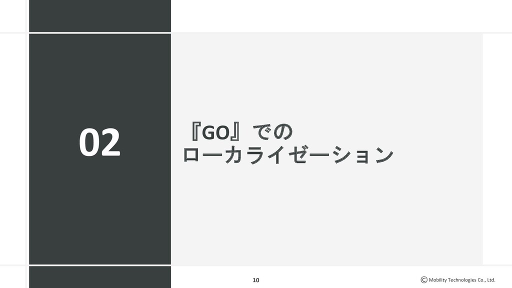 Mobility Technologies Co., Ltd. 『GO』での ローカライゼーシ...
