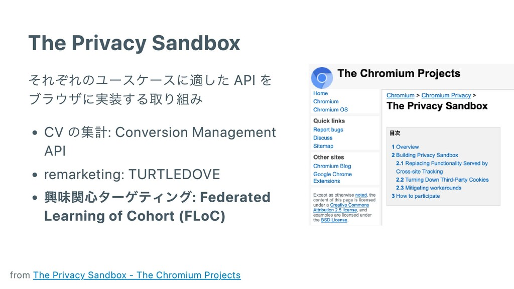 The Privacy Sandbox それぞれのユースケースに適した API を ブラウザに...