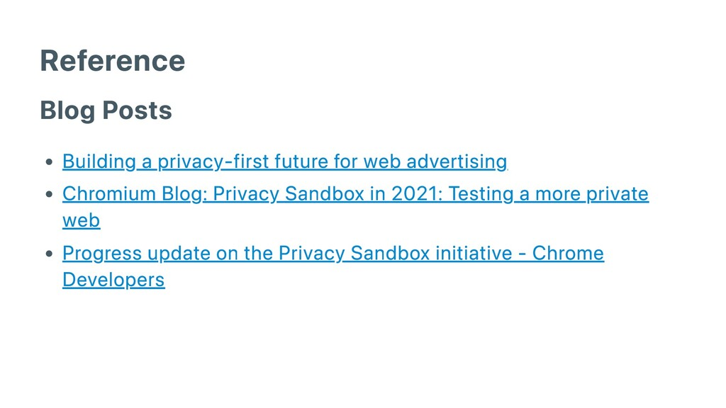 Reference Blog Posts Building a privacy-first f...