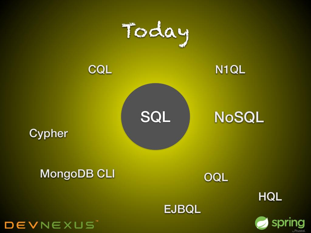 Today SQL NoSQL Cypher MongoDB CLI CQL OQL EJBQ...