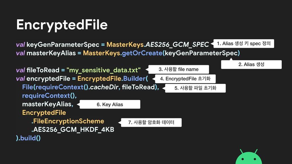 EncryptedFile val keyGenParameterSpec = MasterK...