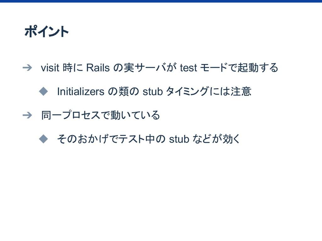 ➔ visit 時に Rails の実サーバが test モードで起動する ◆ Initial...