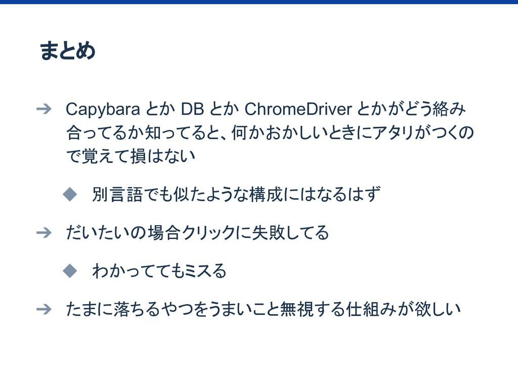 ➔ Capybara とか DB とか ChromeDriver とかがどう絡み 合ってるか知...