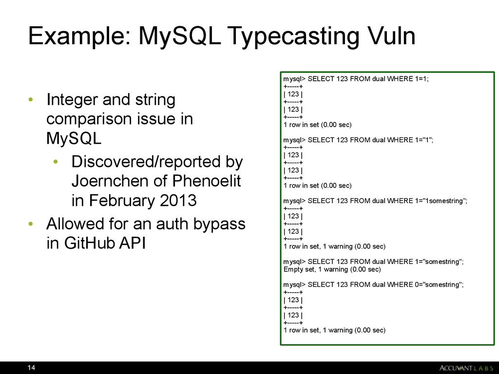 Example: MySQL Typecasting Vuln • Integer and s...
