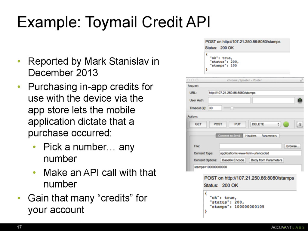 Example: Toymail Credit API • Reported by Mark ...