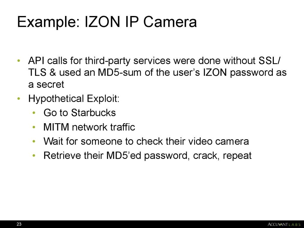 Example: IZON IP Camera • API calls for third-p...