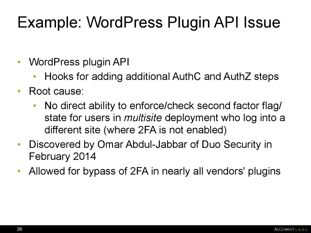 Example: WordPress Plugin API Issue • WordPress...