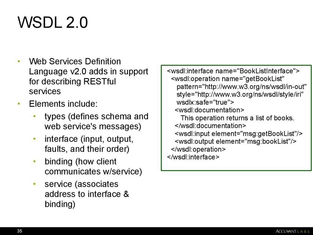 WSDL 2.0 • Web Services Definition Language v2....