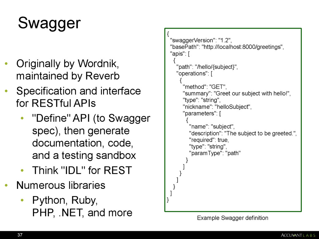Swagger • Originally by Wordnik, maintained by ...