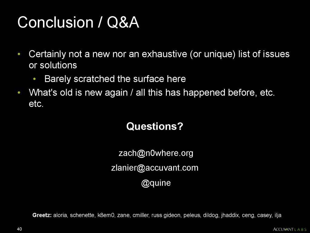Conclusion / Q&A • Certainly not a new nor an e...