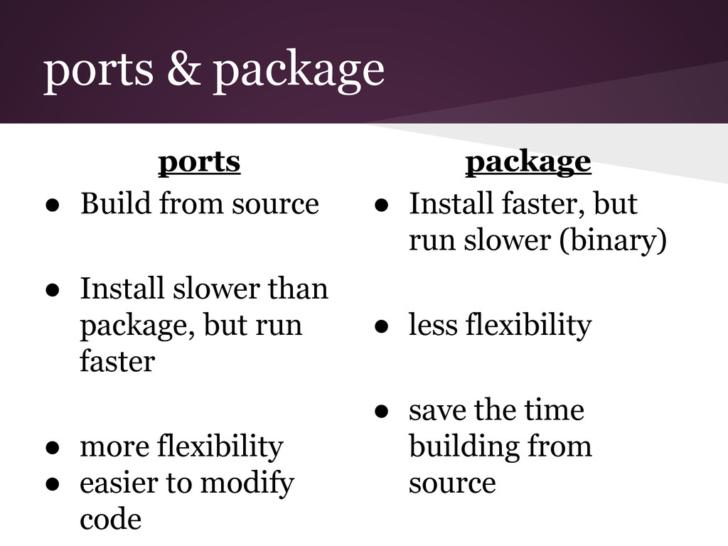 ports & package package ● Install faster, but r...