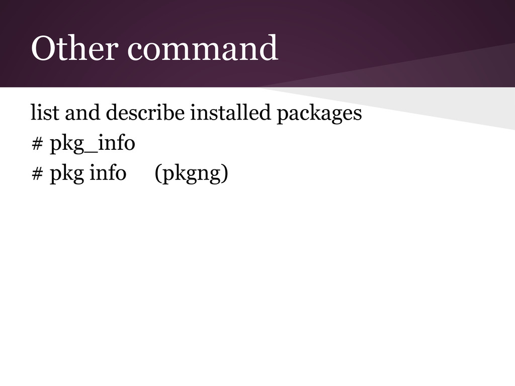 Other command list and describe installed packa...