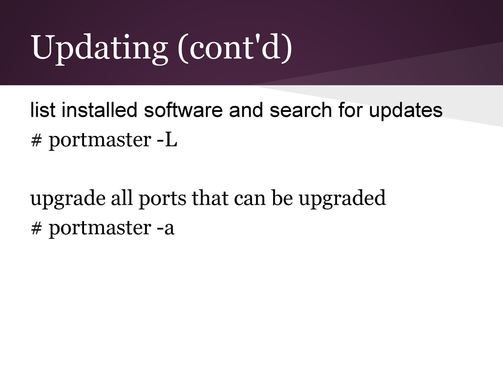 Updating (cont'd) list installed software and s...