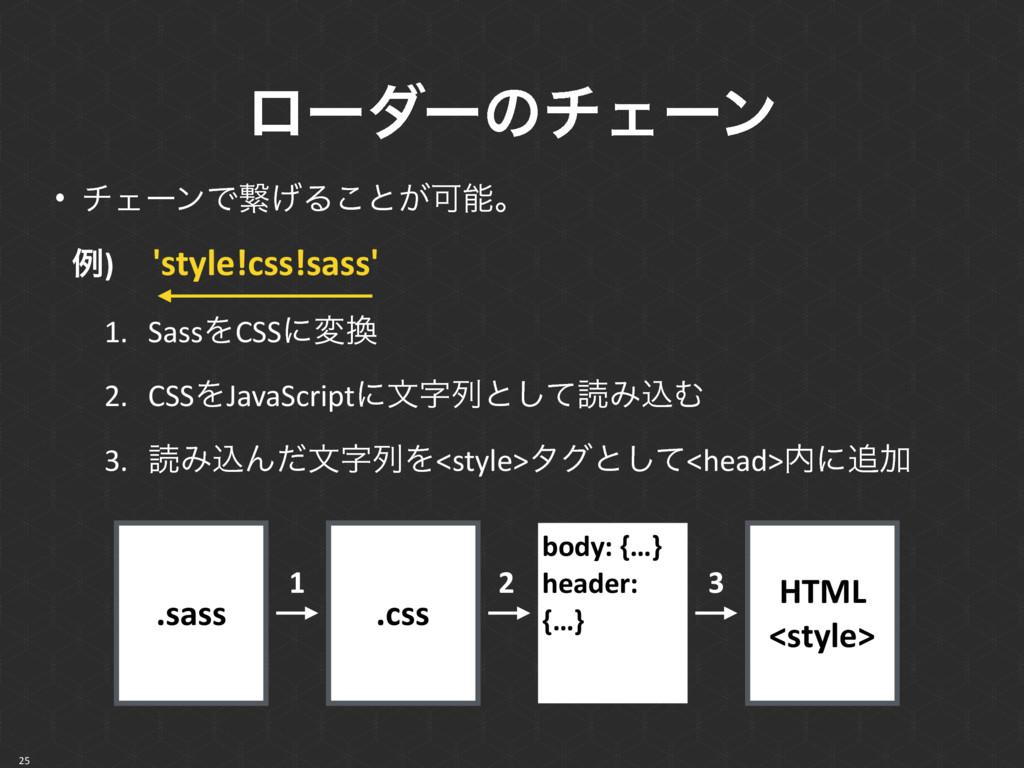 ϩʔμʔͷνΣʔϯ 25 • νΣʔϯͰܨ͛Δ͜ͱ͕Մɻ ྫ)ɹ'style!css!sas...