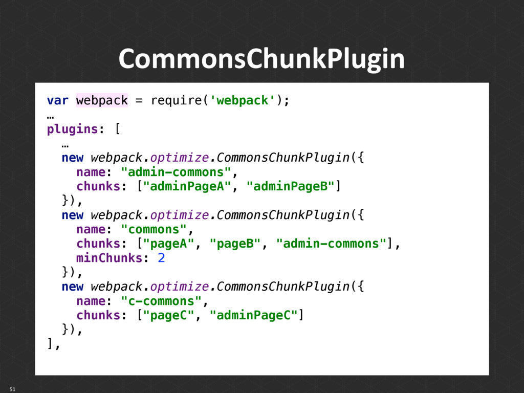CommonsChunkPlugin 51 var webpack = require('we...