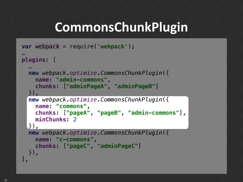 CommonsChunkPlugin 55 var webpack = require('we...