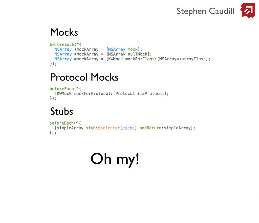 Mocks Protocol Mocks Stubs Oh my! Stephen Caudi...