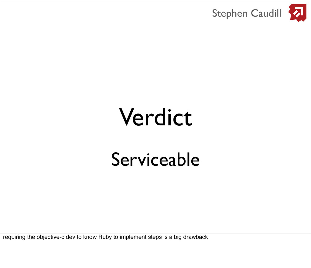 Verdict Stephen Caudill Serviceable requiring t...