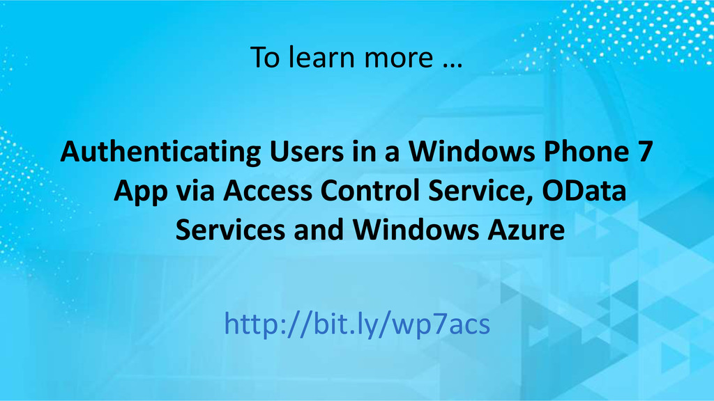 To learn more … Authenticating Users in a Windo...