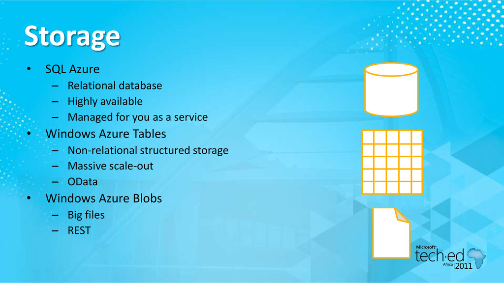 Storage • SQL Azure – Relational database – Hig...